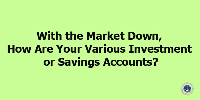 With the Stock Market Down, How Are Your Various Investment or Savings Accounts?